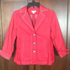 Joan Rivers Red Denim Jacket XS